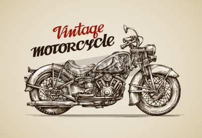 Cuadro Motocicleta de la vendimia. Dibujado a mano moto ilustración vectorial