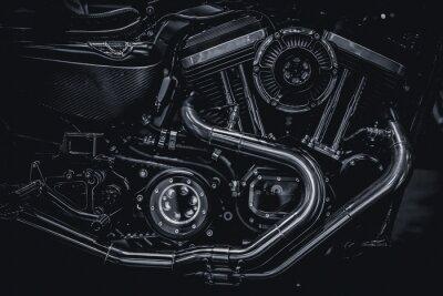 Cuadro Motocicleta motor de escape de tubos de arte de fotografía en blanco y negro vintage tono