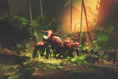Cuadro Motocicleta oxidada abandonada en vegetación excesiva, estilo digital del arte, pintura de la ilustración