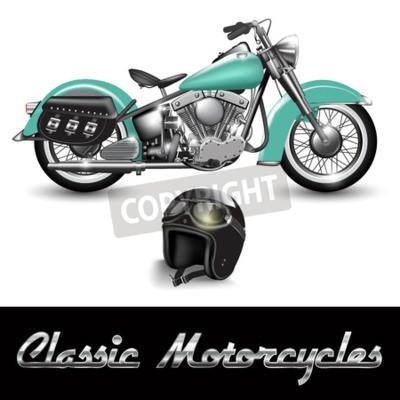 Cuadro Motocicleta y casco clásicos con gafas. Ilustración del vector