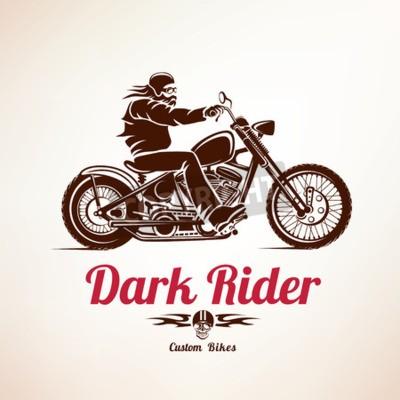 Cuadro Motociclista, moto grunge vector silueta, el emblema retro y la etiqueta