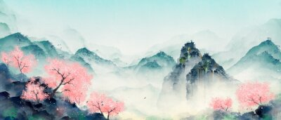 Cuadro Mountain forest with peach blossoms in spring and summer. Oriental ink landscape painting.