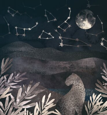Cuadro .Mountain night landscape with leopard. .Collage of textured shiny metallic paper