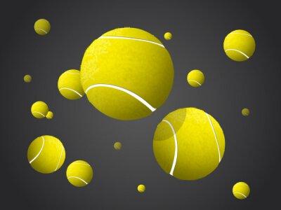 Cuadro Moverse volando pelota de tenis, cayendo aislado en fondo oscuro.