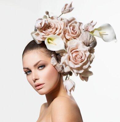 Cuadro Muchacha de la belleza de la manera con las flores del pelo. Novia. Peinado Creativo