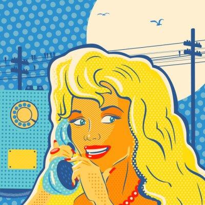 Cuadro Muchacha del estilo del arte pop con el teléfono