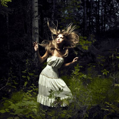 Cuadro Muchacha en bosque de hadas