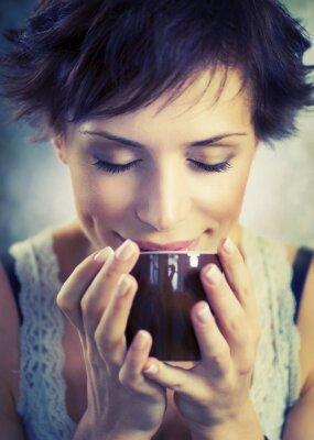 Cuadro Muchacha Hermosa Con La Taza de Café