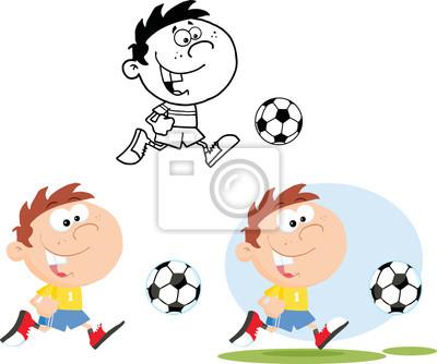 Muchacho que se ejecuta con el balón de fútbol. colección conjunto ...