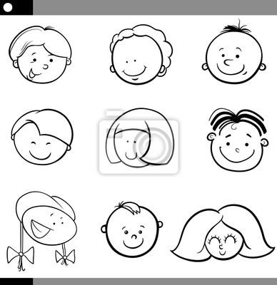 Muchachos de dibujos animados y caras de las niñas conjunto pinturas ...
