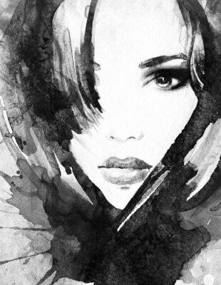 Cuadro Mujer .abstract retrato de la acuarela