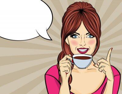 Cuadro Mujer atractiva del arte pop con la taza de café