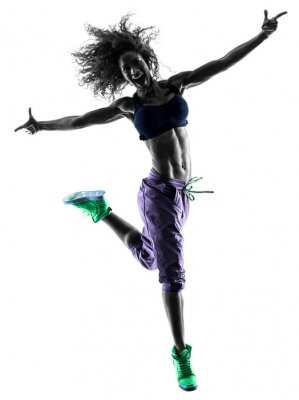 Cuadro Mujer bailarina baile zumba ejercicios silueta