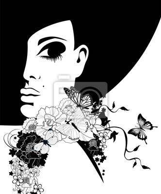 Mujer con un sombrero negro con flores y mariposas pinturas para la ... 6e5ad4aa214