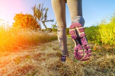 Cuadro Mujer corriendo al atardecer en un campo