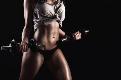 Cuadro Mujer de la aptitud en el entrenamiento duro