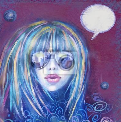 3e8581a3ac Cuadro Mujer de moda en gafas de sol. Rockstar música. Ilustración de la  mujer