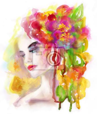 Mujer De Primavera Acuarela Hermosa Del Retrato Abstracto Dibujo