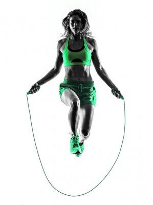 Cuadro Mujer de salto de fitness ejercicios de cuerda silueta