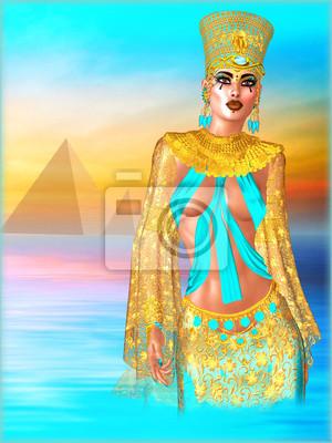 y turquesa en en el oro fondo el de egipcia traje Cuadro Mujer pirámides pYq60wB6