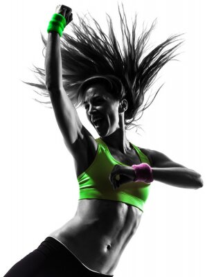 Cuadro mujer en el ejercicio Zumba Fitness silueta bailando