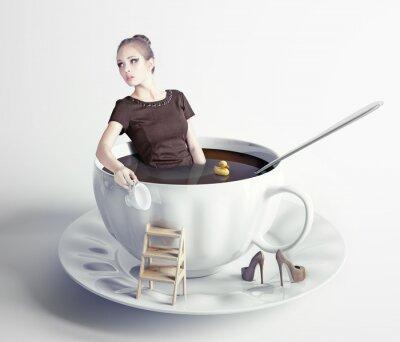 Cuadro Mujer en la taza de café