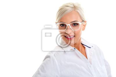 modelado duradero calidad confiable gama muy codiciada de Cuadro: Mujer en las gafas blancas. cabeza y los hombros