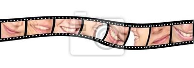 Cuadro Mujer feliz sonríe en rayas de cine