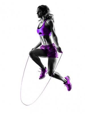 Cuadro Mujer fitness Jumping Rope ejercicios silueta