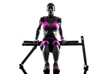 Cuadro Mujer fitness push-ups ejercicios silueta