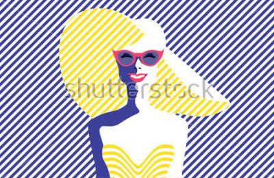Cuadro Mujer joven hermosa con las gafas de sol y el sombrero, estilo retro. Arte pop. Vacaciones de verano. Ilustración vectorial eps10