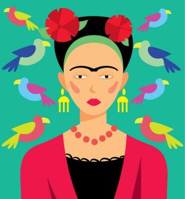 Cuadro Mujer mexicana en el maquillaje, ilustración vectorial. Personajes de caricatura.
