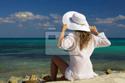 Mujer Mirando Al Mar Pinturas Para La Pared Cuadros Panamá Bahamas Accesorio Myloview Es
