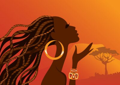 Cuadro Mujer negra hermosa. Mujer africana.
