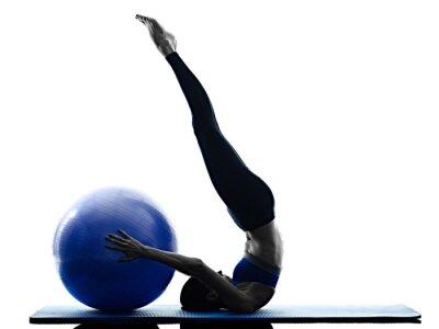 Cuadro Mujer pilates bola ejercicios fitness aislado