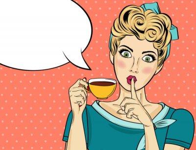 Cuadro Mujer rubia atractiva del arte pop con la taza de café