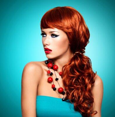 Cuadro Mujer sensual hermosa con los pelos largos de color rojo