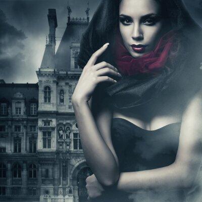 Cuadro mujer sexy en negro campana y el castillo
