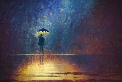 Cuadro Mujer solitaria bajo las luces del paraguas en la pintura oscura, digital
