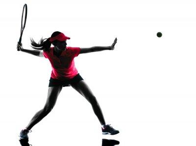 Cuadro Mujer tenista tristeza silueta