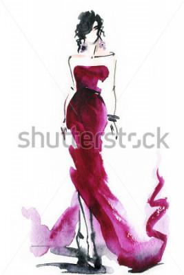 Cuadro Mujeres con elegante vestido. Acuarela abstracta. Fondo de moda