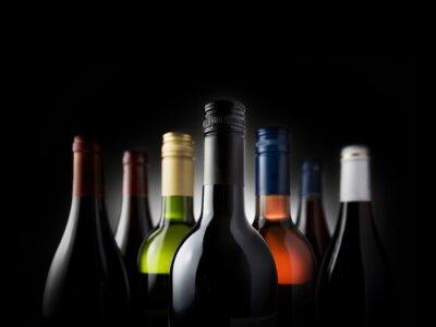 Cuadro múltiples botellas negras - Stock Image