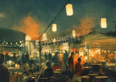 Cuadro Multitud de personas caminando en el mercado por la noche, la pintura digital