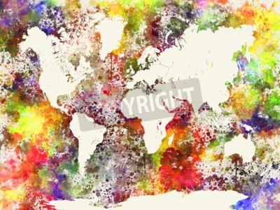 Cuadro Mundo, mapa, acuarela, Pintura, Extracto, salpicaduras