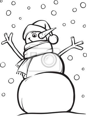 Muñeco De Nieve Para Colorear Libro Feliz Navidad Pinturas Para La