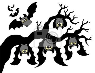 Murciélagos De Dibujos Animados Colgando De La Rama Pinturas Para La