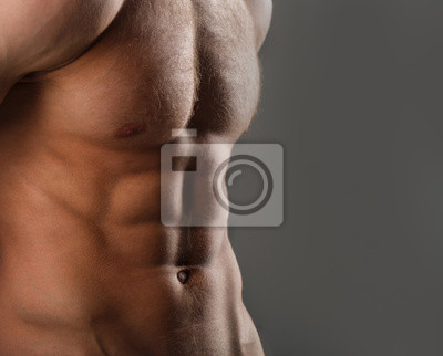 Cuadro Muscular body, naked torso. Guy with beautiful torso. Muscular man, male naked, healthy muscular guy, torso man. Sexy man, athletic caucasian, sexual belly. Bodybuilder, health, diet. Copy space.