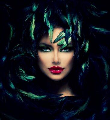 Cuadro Mysterious Woman Portrait. Hermosa mujer modelo de la cara del primer