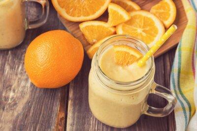 Cuadro Naranja, fruta, smoothie, vidrio, tarro