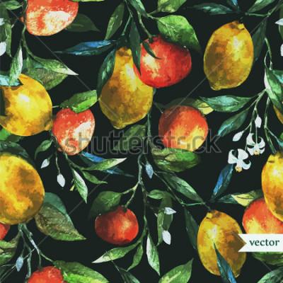 Cuadro naranja, limón, acuarela, fondo, oscuro, patrón